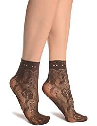 abd2dbecc10a2 Brown Roses Lace With Comfort Top Ankle High Socks - Brown Floral Socks