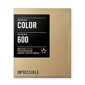 Impossible - 2934 - Edition Limitée - pellicule couleur pour Appareil Polaroid type P600 - cadre doré - 8 feuilles par boîte