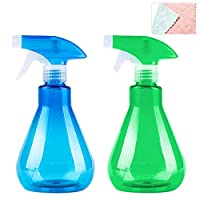 wordmo 2 Pieces Mist Spray Bottles 500ml Empty Plastic Bottles Trigger Sprayer Watering Can with Extra Cleaning Cloth for Watering Feeding Cleaning Gardening tools (blue+green)