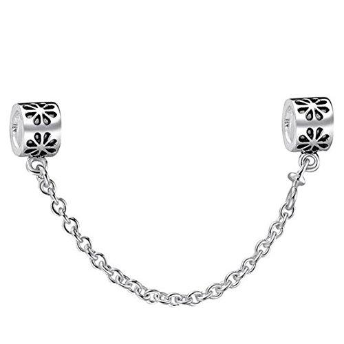 Waya plata charms flor seguridad cadena cuentas de Europea Fit pulseras pulseras DIY accesorios joyas collar