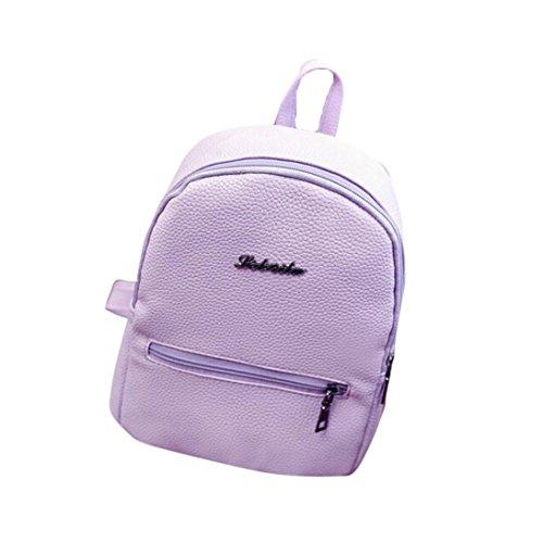 Subfamily® Mädchen Leder Schule Bag Reiserucksack Tasche Frauen Schulter Rucksack Schultertasche Umhängetasche Brusttasche einfach tragbar modische Damentasche Kleine Backpack als Geschenk (lila)