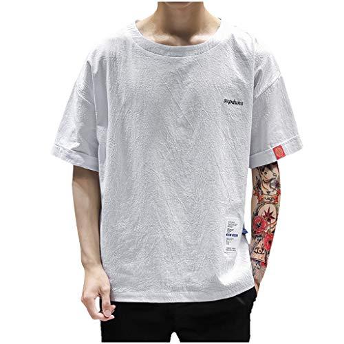 TWISFER Herren Sommer T-Shirt Rundhals-Ausschnitt Slim Fit Baumwolle Shirts Patchwork Halber Ärmel Casual Mode Oberteile Tops Tee (Frauen Camo Trauringe)
