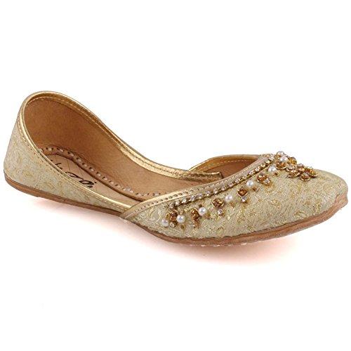 Unze Neue Mädchen Traditionelle 'Crown' Handgefertigte verschönert Leder flache Khussa Pumpe Hausschuhe Kinder Schuhe - LS-629 K Gold