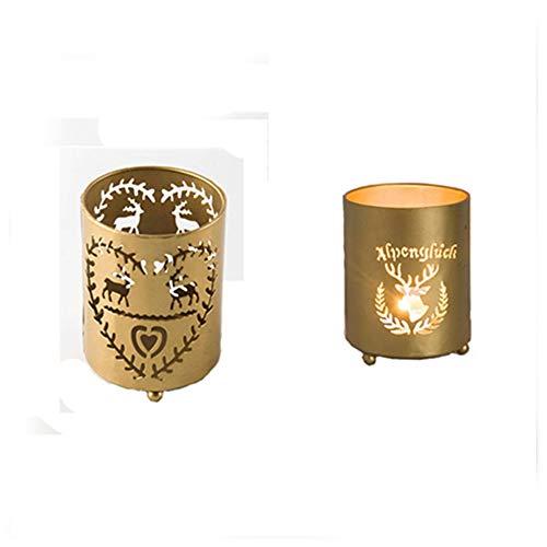 Z3Z Moderner Kerzenständer Aus Metall Hirsch Muster Kerzenständer Eisen Geeignet Für Zu Hause 2-teiliges Set
