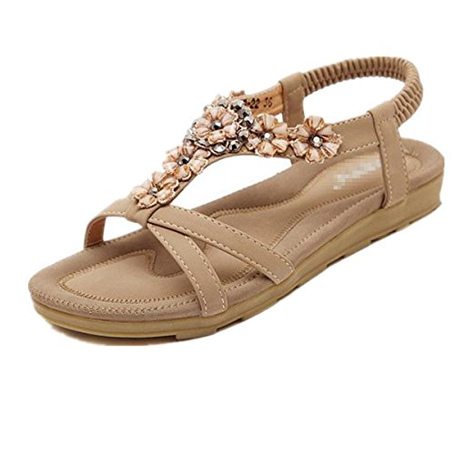 SHUNLIU Frauen Sommer Sandalen Blumen Flache Strand Schuhe Aprikose