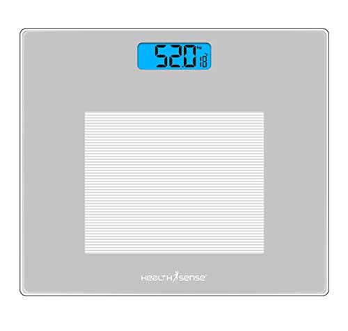 HealthSense Dura-Glass PS 115 Digital Personal Body Weighing Scale with Temperature and Step-On Technology (Batteries Included)