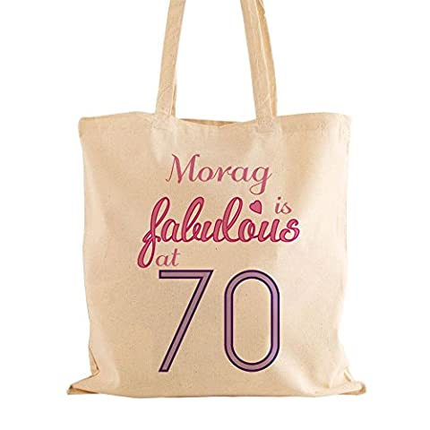 Personalised Fabulous at 70 Cotton Shopper Bag, Gifts for Gran, Keepsake Birthday Present by Personalised Gift Ideas