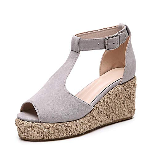 XCDKX Sandalen Wedges Damenschuhe Summer Comfort Wedges Damenschuhe Cutout Sandals Large Size, Grau, 42 Cut-out Wedge Sandals