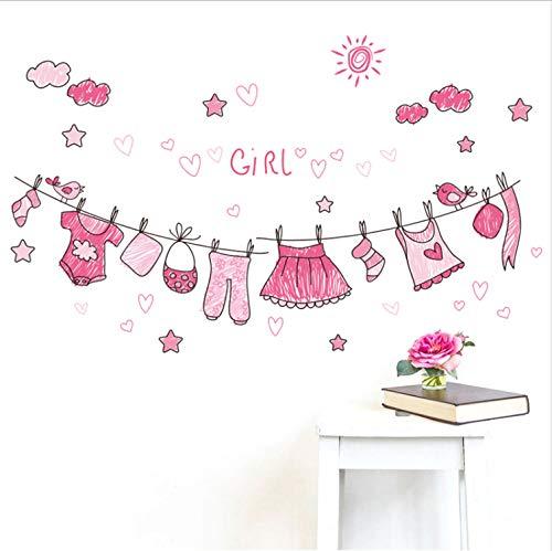 Sunny Mädchen-kleidung (Topzt Wandaufkleber Sunny Pink Kleidung Schlafzimmer Wohnkultur Mädchen Geschenk Dekorationen Cartoon Wandtattoos DIY Wandbild Kunst PVC Poster 30X90 cm)