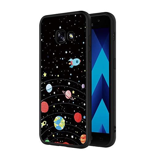 ZhuoFan Funda Samsung Galaxy A5 2017 Cárcasa Silicona Ultrafina Negra con Dibujos Diseño Suave TPU Antigolpes de Protector Piel Case Cover Bumper Fundas para Movil Samsung A52017, Cielo de Estrellas