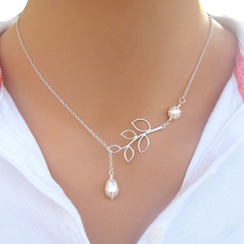 Binmer Silver Pearl Chain Necklace For Women