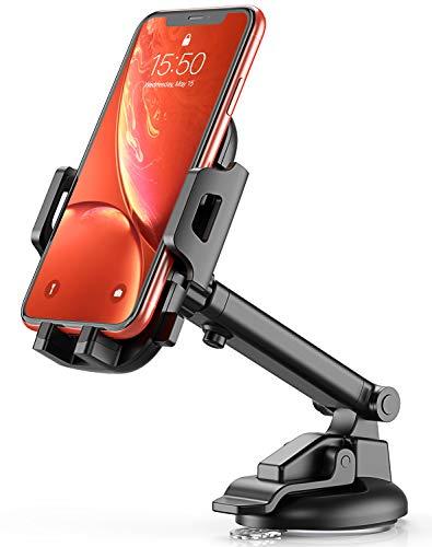 Cocoda Soporte Móvil para Coche, Porta Movil Coche con Rotación de 360 ° para Tablero de Instrumentos/Parabrisas, Universal Sujeta Movil con Botón de Liberación Rápida y Ventosa Pegajosa