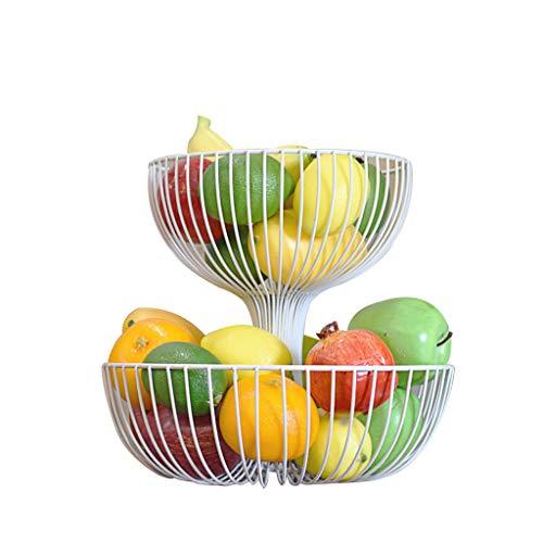 Disaud Obstkorb 2 Tier Countertop Obstkorb Stand Dekorative Arbeitsplatte HerzstüCk,White (Weiße Dekorative Etagere)