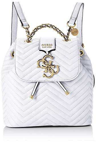 Guess Damen Violet Backpack Rucksack, Schwarz (White), 25.5x25x14 centimeters