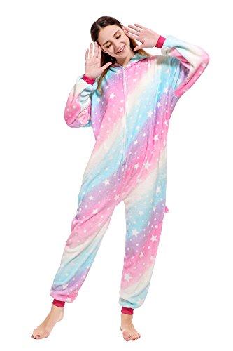 nzug Einhorn Pyjamas Overall Karton Pyjama Neuheit Jumpsuit Kostüme Halloween Weihnachten Karneval Bekleidung (Starry Sky Pegasus, M for 159-168cm) ()