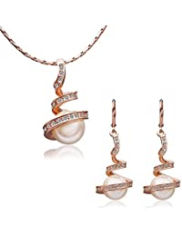 Pendientes del collar de la joyería 18K de la perla Chapado joyas de las damas (de oro rosa / oro / plata)