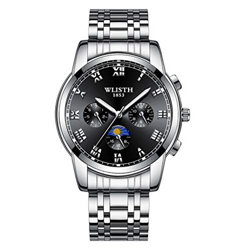 LCLrute Luxusuhren Quarzuhr Edelstahl Zifferblatt Casual Bracele Watch Herrenuhr (D)