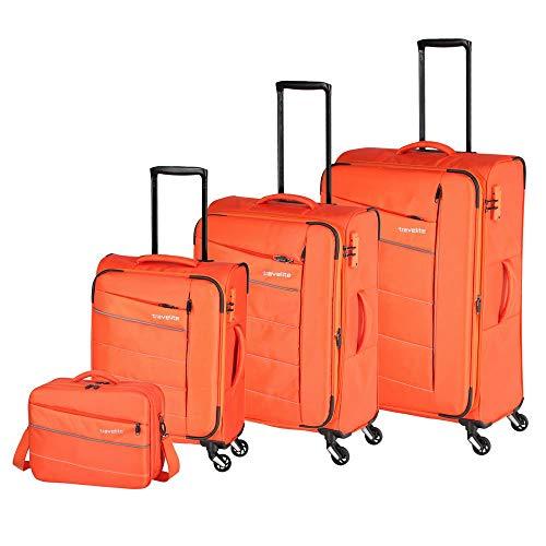 Travelite Extrem leicht: 'KITE' - sportlich-klassische Trolleys, Trolley-Reisetaschen und Bordtaschen Koffer-Set, 75 cm, 198L, Orange