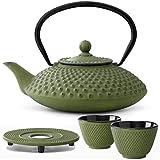 Bredemeijer Teekanne asiatisch Gusseisen Set grün 1,25 Liter mit Tee-Filter-Sieb mit Stövchen und Teebecher (2 Tassen) grün - Serie Xilin