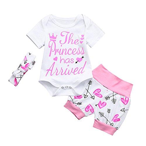 OVINEE 3 STÜCKE Neugeborenen Kleinkind Babyspielanzug Infant Mädchen Print Overall Kleidung Outfit Anzug Shorts Stirnband Brief Pfeil