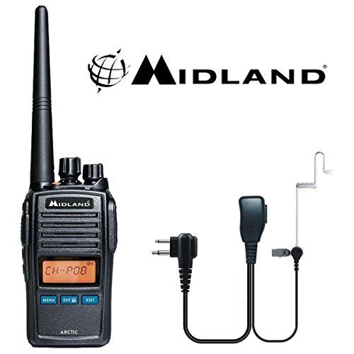 Midland Arctic Schwarz Handheld VHF Marine LCD Radio mit Comtech CM-50PT-Headset Cobra Marine Handheld