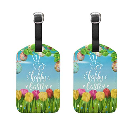 2 PCS Kofferanhänger Easter Egg Tulip Flower Suitcase Labels Travel Accessories Digitale Tulip
