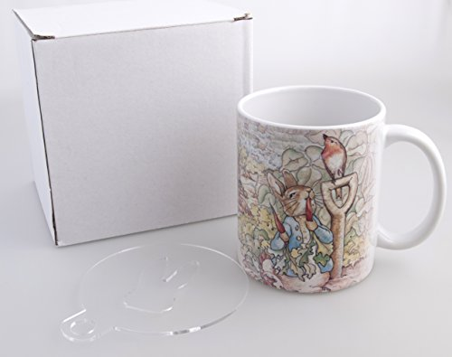 Sammlung Kaffee-tisch-set (Beatrix Potter Story Mug + FREE Kaffee Schablonen Schablone)