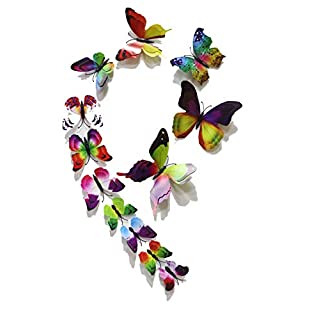 FiveRen 12 Pcs 1 Pack Beautiful Double Wing 3D Butterfly Wall Stickers, Vivid Fridge Magnet Home Decor Art Applique DIY Crafts Removable for Babys Bedroom TV Background Living Room, Rainbow