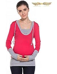 BYD Ropa Premamá Sudaderas con Capucha Empalme Hoodie Encapuchada Mujer Mama Blusas Camiseta Deportiva Sweatshirt Top de Maternidad