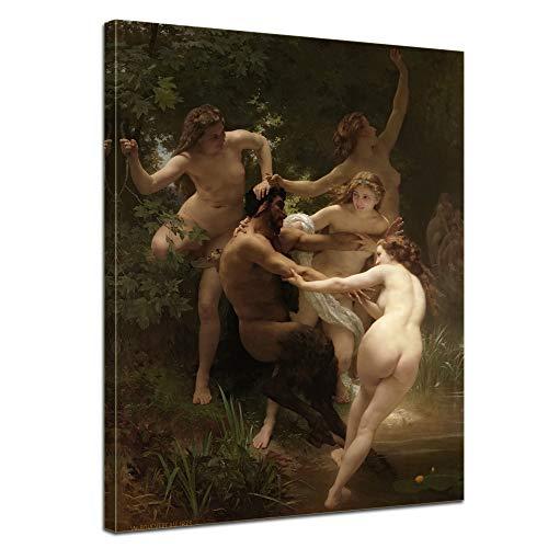 Wandbild William-Adolphe Bouguereau Nymphen und Satyr - 60x80cm hochkant - Leinwandbild Bild auf Leinwand Gemälde