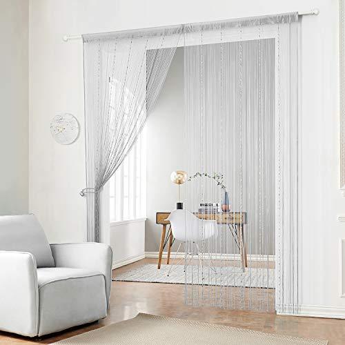 HSYLYM Fadenvorhang mit Kunststoffperlenkette, mit Fransen und Quasten, Polyester, grau, 90x245cm