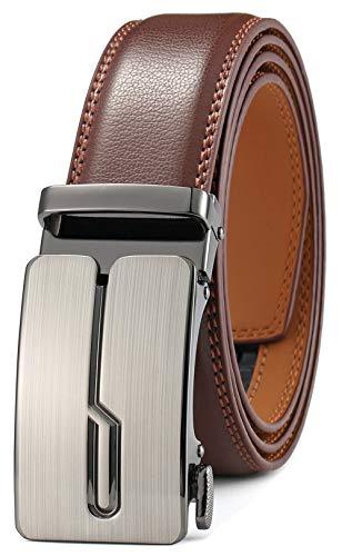 GFG Herren Gürtel,Leder Automatik Gürtel Für Herren Jeans Anzug Gürtel-3,5cm Breite-0010-125-Braun - Herren Leder Braun Gürtel