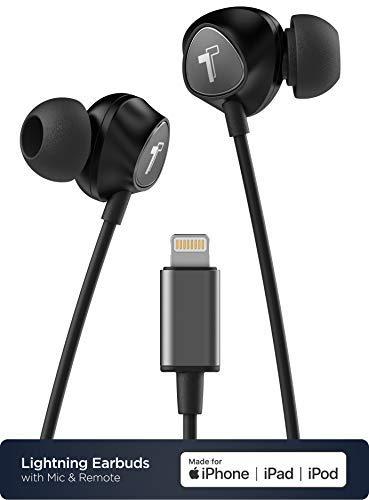 Auriculares para iPhone con conector Lightning MFi certificado por Apple Earbuds- con cable ergonómico para auriculares con micrófono/control de volumen y micrófono (funda incluida) negro -V100