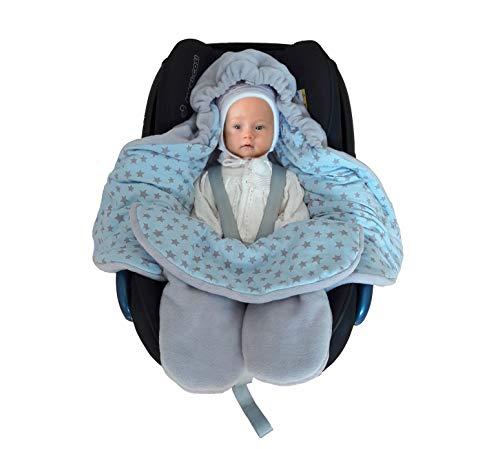 SWADDYL ® Fußsack Einschlagdecke Maxi cosi I Baby Wintersack I Babydecke für Babyschale, Kinderwagen - für Winter aus Fleece/Baumwolle (Blau)