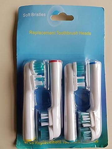 oral-q SB417A Aufsteckbürsten Ersatz für Braun Original Zahnbürstenköpfe F Flexisoft kompatibel mit Elektrische Zahnbürste Griffe, Wirtschaft, 4 (Oral B Flexisoft)