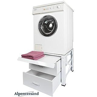 Untergestell für Waschmaschine Extra Hoch mit 2 Schubladen und Ausziehplatte Unterschrank Trockner Sockel Podest 60601100