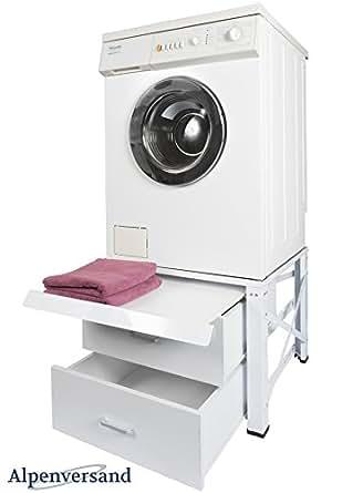 untergestell f r waschmaschine extra hoch mit 2 schubladen und ausziehplatte unterschrank. Black Bedroom Furniture Sets. Home Design Ideas