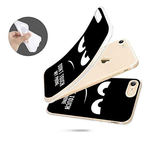 finoo | iPhone 8 Plus Weiche flexible Silikon-Handy-Hülle | Transparente TPU Cover Schale mit Motiv | Tasche Case Etui mit Ultra Slim Rundum-schutz | Princess white Don't touch my phone