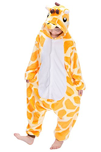 Dolamen Kinder Unisex Jumpsuits, Kostüm Tier Onesie Nachthemd Schlafanzug Kapuzenpullover Nachtwäsche Cosplay Kigurum Fastnachtskostuem Weihnachten Halloween (Höhe 130-140CM (51
