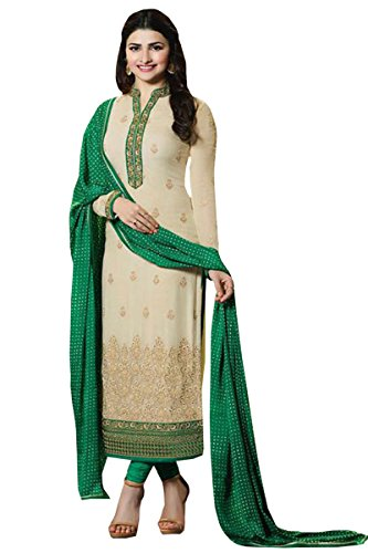 Shoponbit Beige colour Georgette embroidered and stone work stitched party wear salwar suit