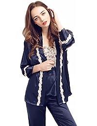 f4450e9c2b7ec Femmes vêtements de nuit 3 pièces Sexy Nightwear Set, TieNew luxe satin  pyjamas en soie ensemble des années 1950 à manches courtes…