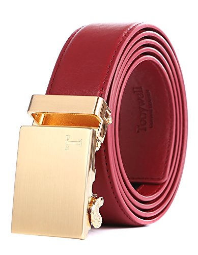 Tonywell Herren Leder Ratchet Kleid Gürtel mit abnehmbare Schnalle Mode Farben Gürtel (Eine Größe: 32