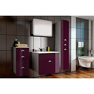 Salle de bain complete TAKUME aubergine
