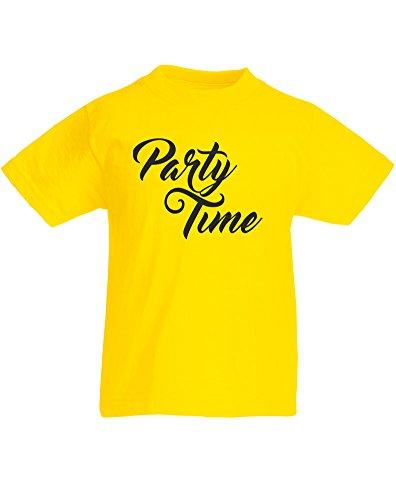 Party Time, Kind-druckten T-Shirt - Gelb/Schwarz 5-6 Jahre