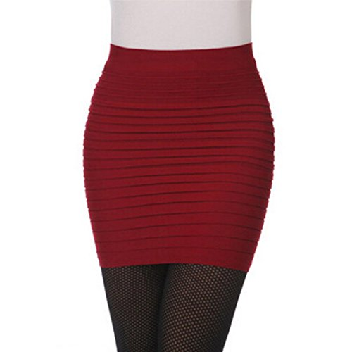 Rcool Mujeres Elástico Cintura Alta Falda