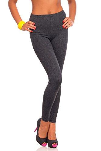 futuro fashion voller Länge Baumwolle Leggins alle Farben alle Größen aktiv-hose Sport Hosen - Graphit, 54 (Graphit Körper)