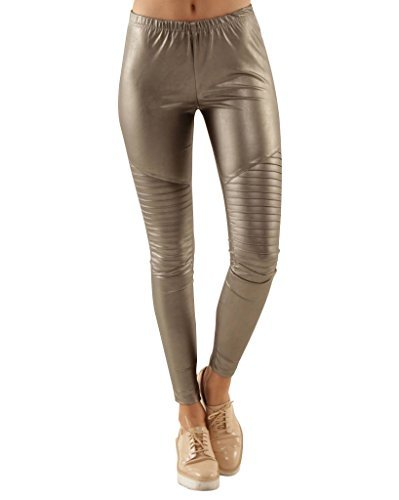 Shiny Leggings für Damen in Silber Metallic by Sassyclassy | Skinny-Leggings in Leder-Optik | Größe 42 | Stretch-Hose High Waist | abgesteppte Biker-Knees | Glanz PU-Lederleggings aus Kunstleder (Echte Usa Leder Handtasche)