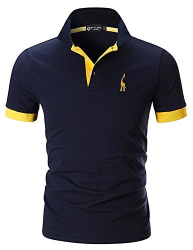 STTLZMC Polo para Hombre de Manga Corta Casual Moda Algodón Camisas Cuello en Contraste Golf Tennis