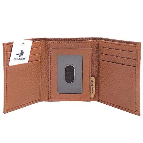 Winchester American Legend Lubbock Herren Geldbörse, RFID-blockierend, Echtleder, Schwarz/Braun - Braun - Trifold -