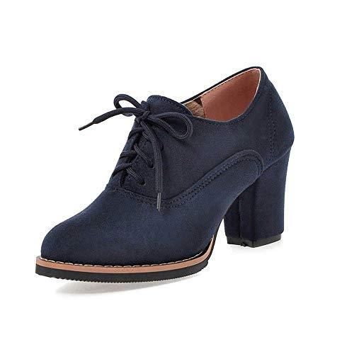 ❤️ Botas Cortas de tacón Alto para Mujeres, Botines con Flecos Cuadrados Gruesos con Cordones sólidos y Altos Zapatos de Punta Redonda Absolute